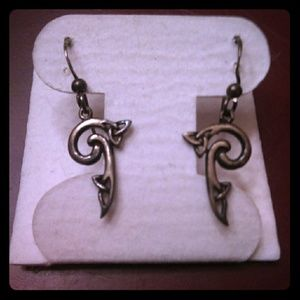 Goth Silver Celtic Knot Earrings! New!